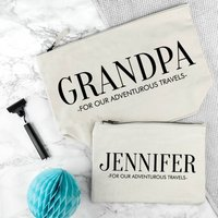 Personalised Grandad And Me Washbags, Cream/Black/Navy