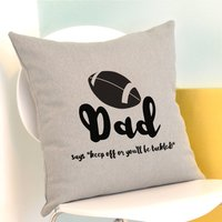 Personalised Rugby Cushion, Grey/Cream