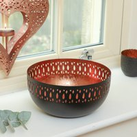 Contemporary Black And Rose Copper Bowl