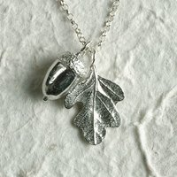 Acorn And Oak Leaf Necklace, Pewter Leaf Jewellery, silver