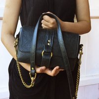 Handcrafted Black Leather Chain Handbag
