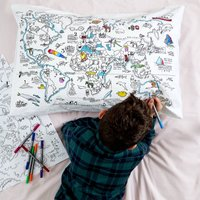 World Map Pillowcase Kit + 10 Pens, Colour In And Learn