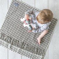 Lambswool Polka Dots Pram Blankets, Grey/Cream/Blue