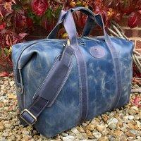 Blue Vintage Leather Holdall, Travel Bag, Gym Bag