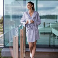 Personalised Grey Cotton Bath Robe Dressing Gown