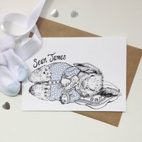 Personalised Boy Baby Bunny Greeting Card