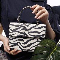 Leather Animal Print Crossbody Handbag