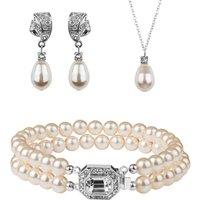 Rhinestone And Teardrop Pearl Jewellery Set