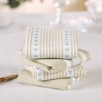 Set Of Four Millstone Blue Striped Cotton Napkins