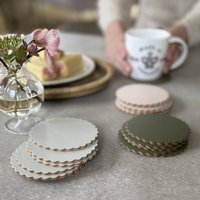 Scalloped Recycled Leather Corked Coasters Set Of Six