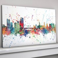 Leeds Skyline Cityscape Paint Splashes Print