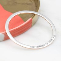 Sterling Silver And 18ct Gold Personalised Flat Bangle, Silver