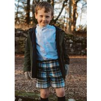 Boys Green And Navy Tartan Shorts
