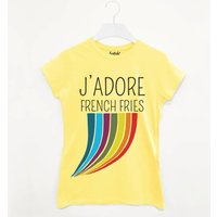 J'adore French Fries Women's Slogan T Shirt, Yellow/Light Blue/Blue
