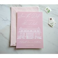 Bespoke Wedding Venue Illustration Save The Dates