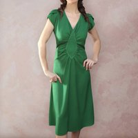 Contrast Stitch Detail Forties Inspired Crepe Tea Dress
