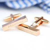 Personalised Engraved Rose Gold Bar Cufflinks, Gold