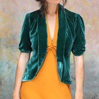 Tea Jacket In Jewel Toned Peacock Silk Velvet