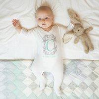 Personalised Botanical Monogram Baby Sleepsuit