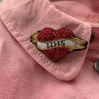 Personalised Hand Embroidered Heart Tattoo Brooch