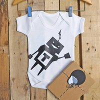 Personalised Robot Baby Boy Vest, White/Light Blue/Blue