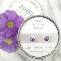 February Birth Flower Petal Stud Earrings Primrose