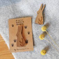Wooden Rabbit Brooch