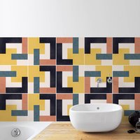 Retro Inspired Tile Stickers Set Pack Of 24