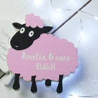 Baby Lamb Wooden New Baby Or Christening Card, White/Pink/Blue