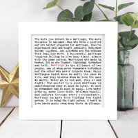Wedding Gift; Gift Boxed Framed Marriage Print