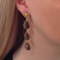 Smoky Topaz Earrings Three Teardrop Cascade Earrings