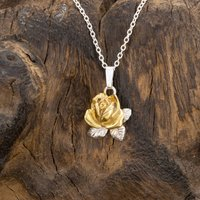 Rose Pendant/Necklace In Silver And 18 Carat Gold, Silver