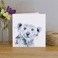 Inky Polar Bear Blank Greetings Card