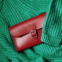 Leather Croc Print Clutch Bag
