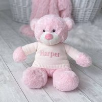 Personalised Aurora Pink Bonnie Bear Large Soft Toy