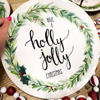 Hand Painted Christmas Wreath Serving Platter