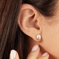A Pair Of Solid Gold Pearl Stud Earrings, Gold