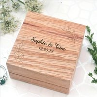 Wooden Ring Box With Personalised Leaf Design