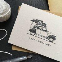 'Happy Holidays' Citroen Two Cv Christmas Card