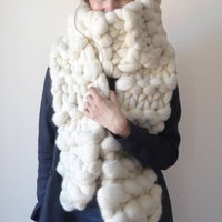 Classic Jumbo Knitted Long Scarf, White/Peach/Brown