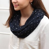 Personalised Supersoft Silver Star Snood, Navy/Grey/Charcoal
