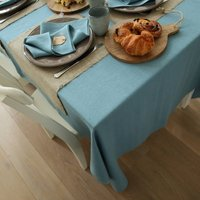 Stone Blue Linen Tablecloth Lara, Blue
