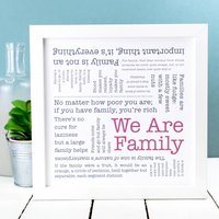 Gift For Parents 'We Are Family' Print