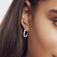 Silver Or Gold Seed Pearl Hoop Earrings, Silver
