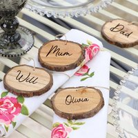 Set Of Four Personalised Wooden Napkin Rings