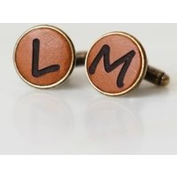 Personalised Real Leather Cufflinks Wedding Gift