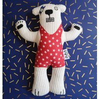 Handmade Wrestling Bear Soft Toy Can Be Personalised, Red/White/Blue