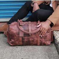 Drake Leather Gym Bag Two End Flap Pockets Wax