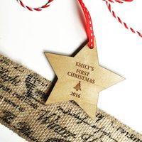 Babies First Christmas Wooden Star