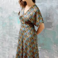 Dress In Biba Inspired Print With Kimono Sleeves